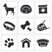 Doggy, puppy icons set — Stock Vector