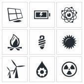 Energy, power icons set — Vetorial Stock