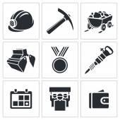 石炭産業のアイコン コレクション — ストックベクタ