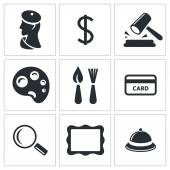 Museum, auction sale icons — Stock Vector