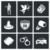 Street Prostitution  Icons Set — Stock Vector