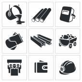 Metallurgy Icons set — Stock Vector