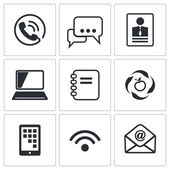 Communication, network icons set — Stock Vector