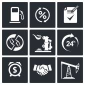 Sale of petroleum products icons — Stock Vector