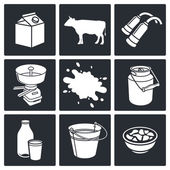 Milk production Icons set — Stock Vector