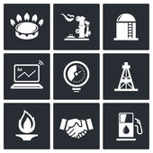Gas trade vector icon set — Stock Vector