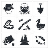Hunting and fishing icons collection — Vetorial Stock