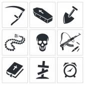 Death and burial icon collection — Stock Vector