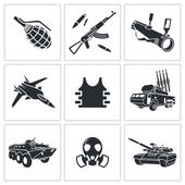 Armament, weapon Icon set — Stock Vector