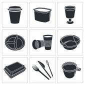 Disposable tableware icon collection — Stock vektor