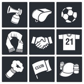 Attributes Soccer fan icons — Stock Vector