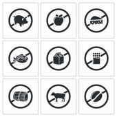 Prohibiting signs  Icons Set — Stock Vector