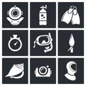Diving, snorkeling icons set — Stock Vector