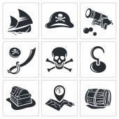 Pirates, adventures Icons set — Stock Vector