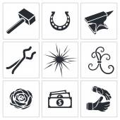 Forge, blacksmith Icon set — Stock Vector