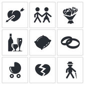People's lives icons set — Stock Vector