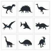 Dinosaurs, prehistoric icons set — Stock Vector