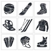 Winter sports icons — Stock Vector