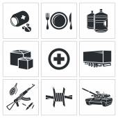 Humanitarian relief Icons — Stock Vector