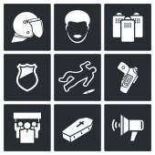 Strike after killing icon set — Stock Vector