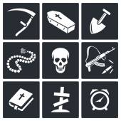 Death and burial icons set — Stock Vector