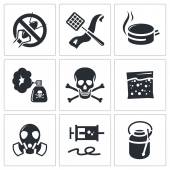 No insects icons set — Stock Vector