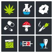 Drugs, addiction icons collection — Stock Vector