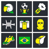 Soccer fans ultras Icons set — Stock Vector
