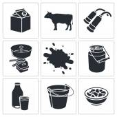 Milk production icon collection — Stock Vector