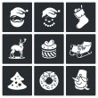 Christmas holiday  Icons Set — Wektor stockowy  #69208549