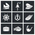 Sea voyage  Icons Set — Stock Vector #69208607