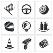 Постер, плакат: Car racing and pumping Icons Set
