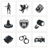Prostitution  Icons Set — Stock Vector