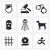 Prison, jail   Icons Set — Stock Vector