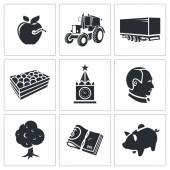 Agriculture business  Icons Set — Stock Vector
