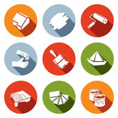 Painting work icons set — Stock Vector