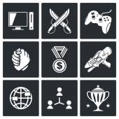 Electronic Sports icons set — Stock Vector