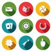 Gambling and fortune icons collection — Stock Vector