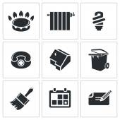 Utilities, domestic technology  Icons Set — Stock Vector