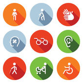 Disability, handicap   Icons Set — Stock Vector