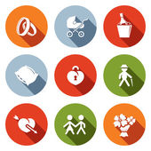 People's lives flat icons set — Stock Vector