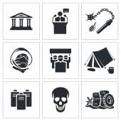 Street protests, demonstration    icon set — Stok Vektör