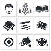 Illegal migration  Icons Set — Stok Vektör