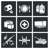 Humanitarian relief Icons set — Stock Vector