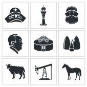 Kazakhstan country   Icons Set — Stock Vector