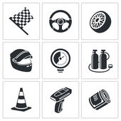 Car racing and pumping  Icons Set — Stock Vector