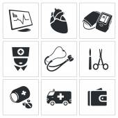 Heart disease, hospital  Icons Set — Stock Vector