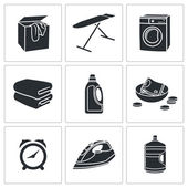 Dry Cleaning of Laundry  Icons Set — Stock Vector