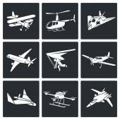Aaircrafts, airborne   Icons Set — Stock Vector