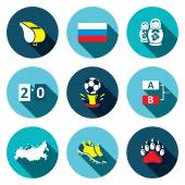 Soccer game  Icons set — Stock Vector